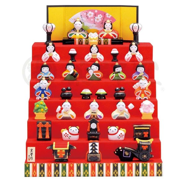 雛人形 コンパクト 陶器 小さい 可愛い ひな人形/ 錦彩花かざり雛(七段飾り) /ミニチュア 初節句 お雛様 おひな様 雛飾り|duralex