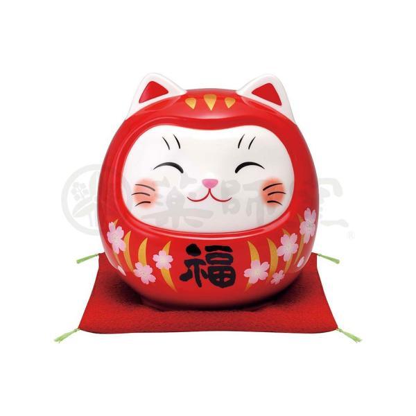 招き猫 置物 彩絵開運猫だるま(桜赤福・大)(貯金箱)|duralex