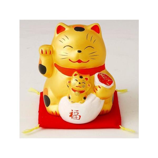 金運招き猫親子 貯金箱|duralex