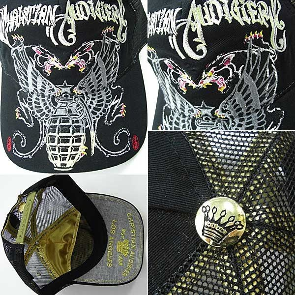 Christian Audigier(クリスチャンオードジェー) City of Angels Cap キャップ パンサー、イーグル/ブラック