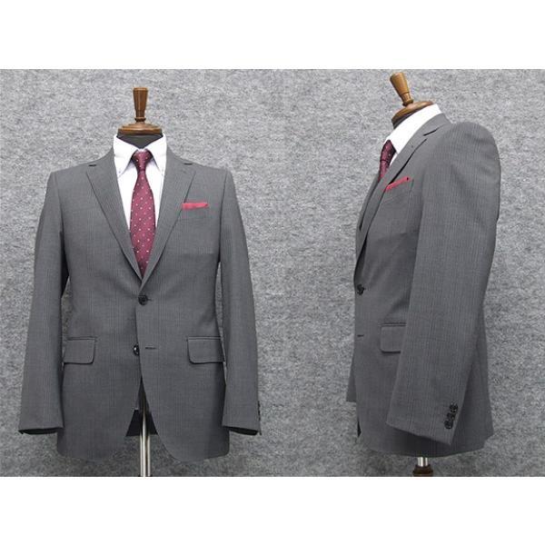 メンズ [AB体] 春夏物 スタイリッシュ2釦シングルスーツ [renoma] グレー系ストライプ レノマ ブランドスーツ [BB体]