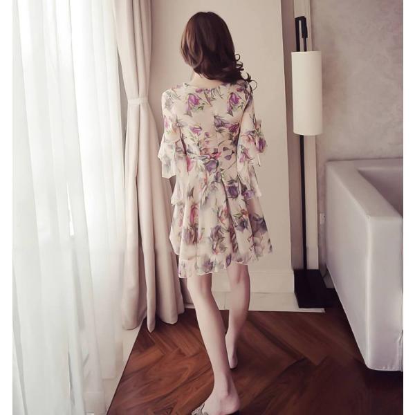 ワンピース デート お出かけ 花柄 シフォン ミニ ラップ|dynamic-sun|05