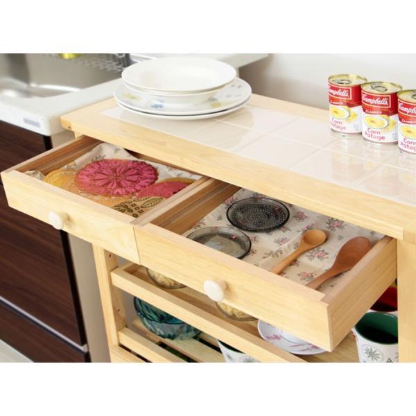 キッチンワゴン 収納 キッチン 人気 木製 キャスター付き タイルトップ クッキー e-alamode 06