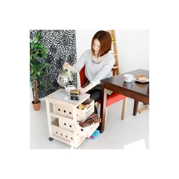 桐キッチンワゴン3段 キッチン収納 コンパクト 大容量 かわいい|e-alamode|02