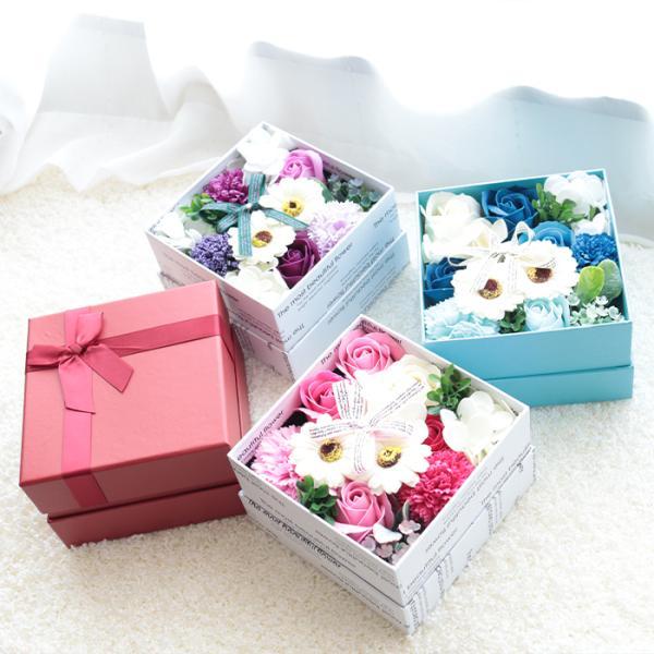 花  フラワーソープ シャボンフラワー ボックスフラワー 枯れない花 造花 フラワーギフト 入浴剤 おしゃれ   ギフト  (ラ)