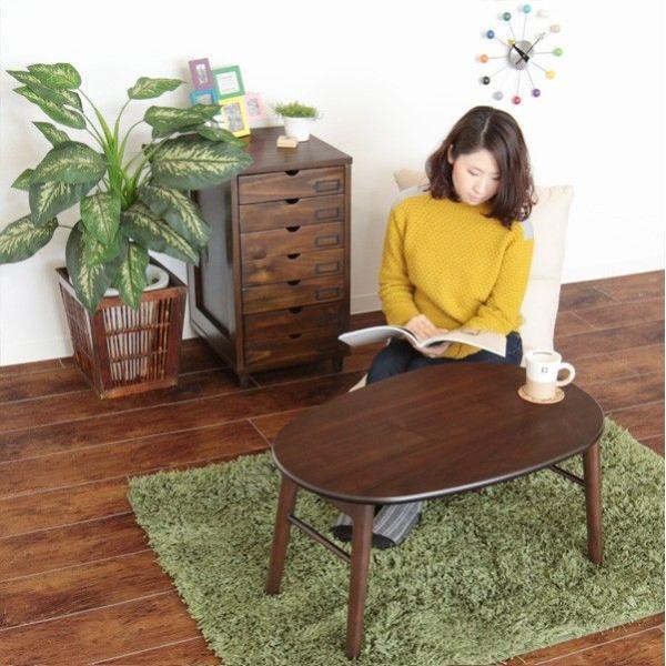 テーブル ローテーブル 折りたたみテーブル リビングテーブル センターテーブル 楕円 フラン|e-alamode|04