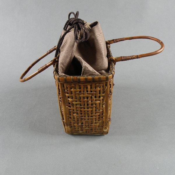 竹籠バッグ かごバッグ 茶籠 根曲り竹 煤竹 燻煙千島笹