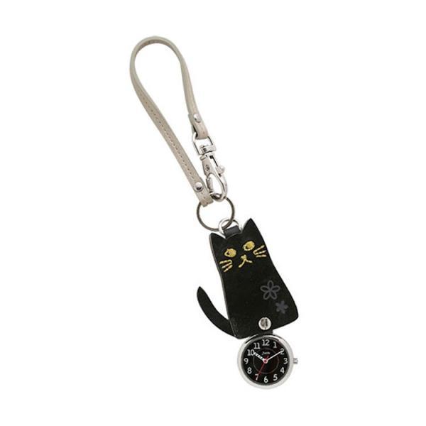 J-AXIS フックストラップ時計 スライド式 ポケットウォッチ 黒猫 黒ネコ 刺繍 HP139-BK