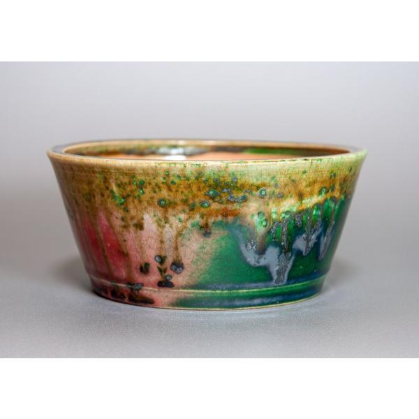 盆栽鉢 織部釉 丸盆栽鉢 小品盆栽鉢 正子鉢 p0115 e-bonsai