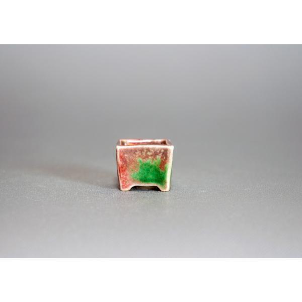 プチ盆栽鉢 織部釉 正方盆栽鉢 小鉢 小さい鉢 p0143|e-bonsai