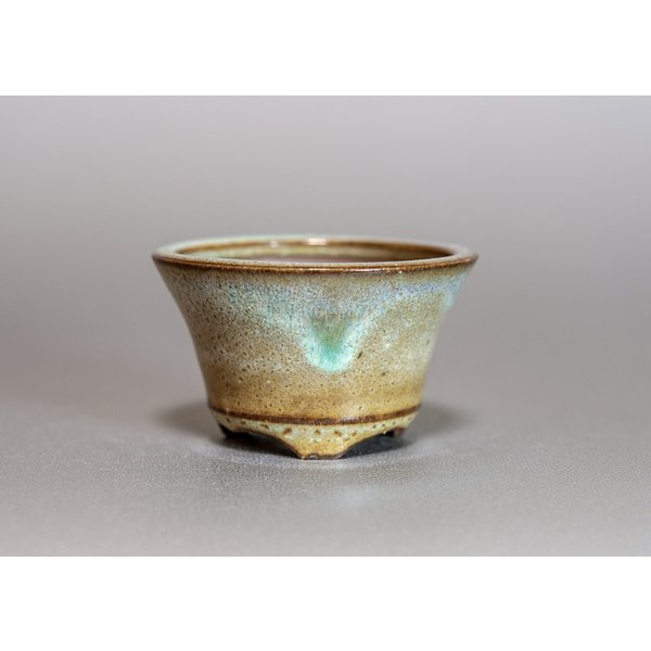 ミニ盆栽鉢 黄緑流紋釉 丸盆栽鉢 小さな盆栽鉢 p0157|e-bonsai