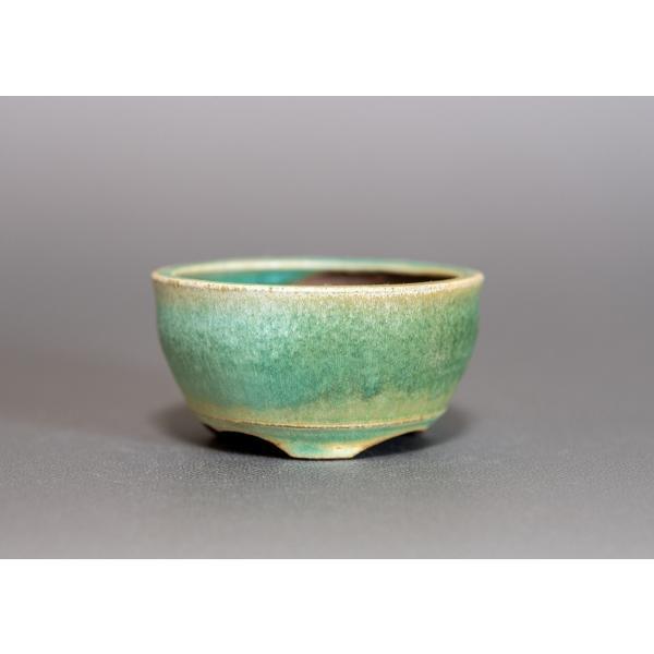 ミニ盆栽鉢 トルコ青結晶釉 丸盆栽鉢 小鉢 p0164 e-bonsai