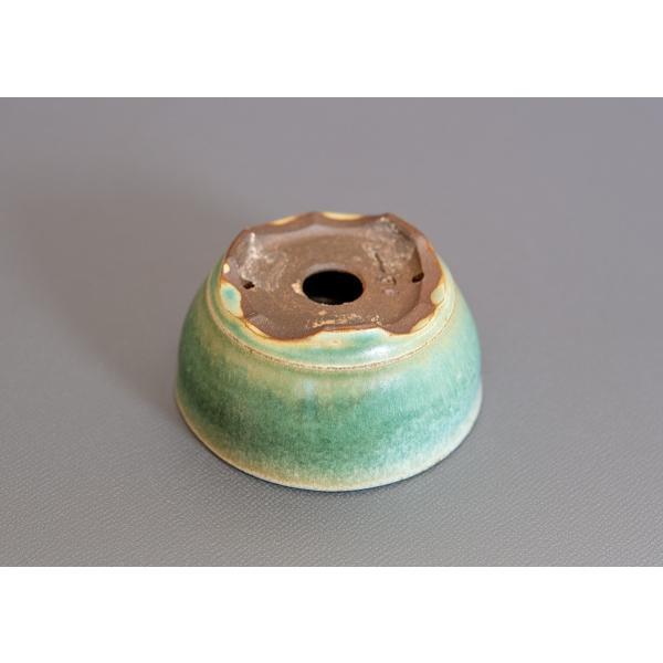 ミニ盆栽鉢 トルコ青結晶釉 丸盆栽鉢 小鉢 p0164 e-bonsai 02