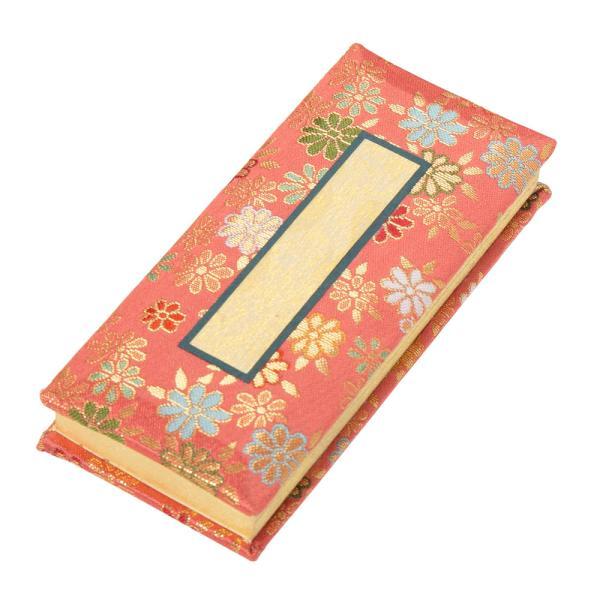 仏具 過去帳 金襴鳥の子 夢源(むげん)濃ピンク 日付入 3.5寸