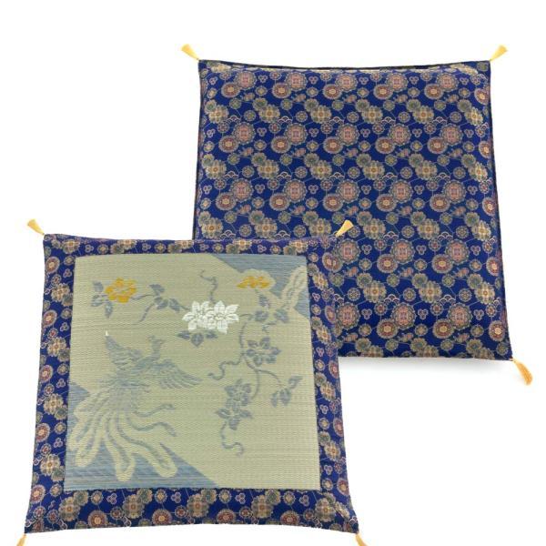 い草座布団(夏冬兼用)70cm 鳳凰 紺