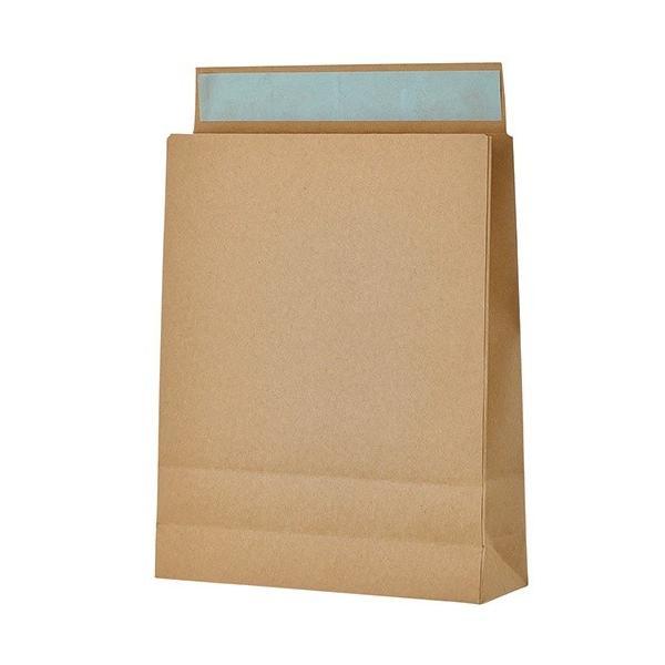 【直送・代引き不可】 宅配袋 小 Sサイズ 茶 封かんテープ付 100枚 底面 約260×80×高さ320mm
