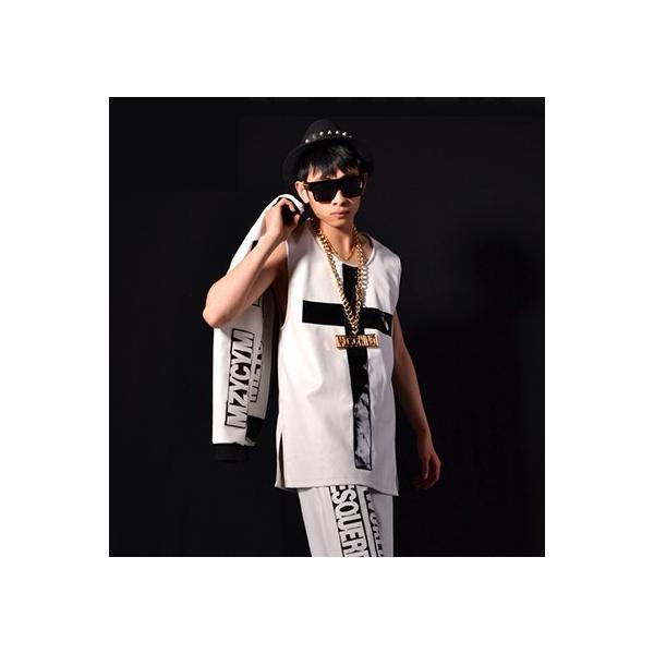 b系 メンズ ダンス衣装 ベスト 細身 男性用 演出服 練習着 e-dance