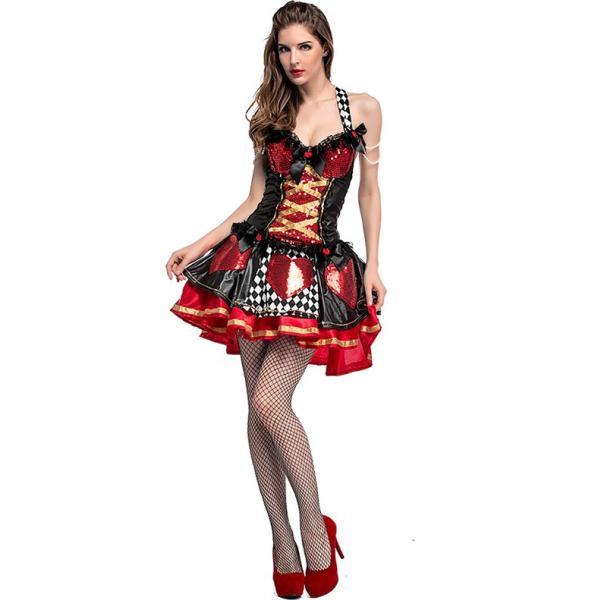 ハロウィン コスプレ ハートの女王 レディース コスチューム 不思議の国 クイーン クリスマス 仮装 パーティー ハロウィン衣装|e-dance