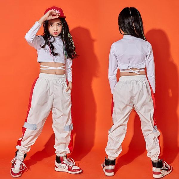 キッズダンス衣装 長袖 トレーナー ロングパンツ 子供 女の子 コットン 通気性 快適 カラーマチング 鮮やか ハイウエスト へそ出し カッコイイ ヒップホップ|e-dance|02