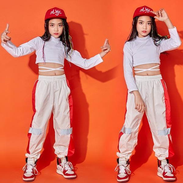 キッズダンス衣装 長袖 トレーナー ロングパンツ 子供 女の子 コットン 通気性 快適 カラーマチング 鮮やか ハイウエスト へそ出し カッコイイ ヒップホップ|e-dance|03