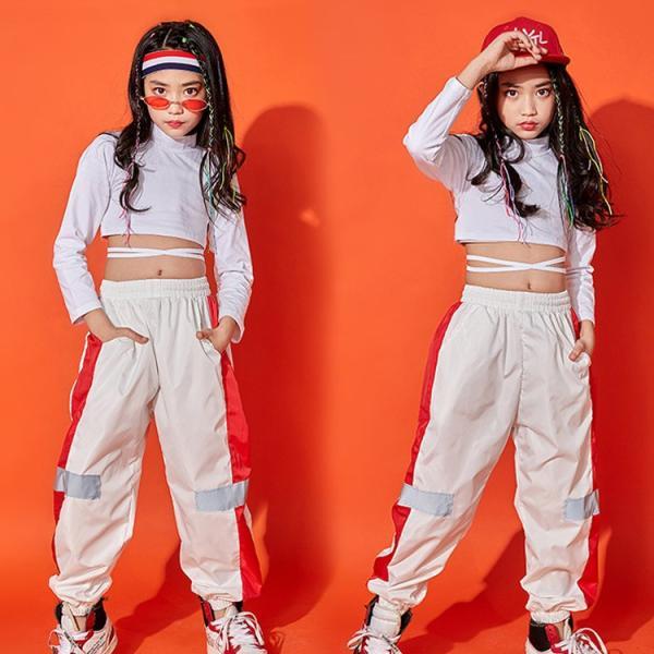 キッズダンス衣装 長袖 トレーナー ロングパンツ 子供 女の子 コットン 通気性 快適 カラーマチング 鮮やか ハイウエスト へそ出し カッコイイ ヒップホップ|e-dance|04