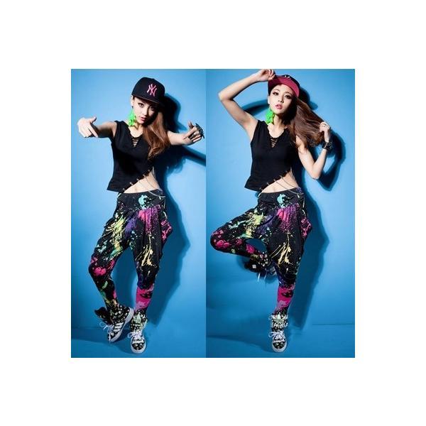 ダンス衣装 サルエルパンツ サラサラして動きやすい カラフル タイダイカーゴ カジュアル ダンスパンツ 運動パンツ|e-dance