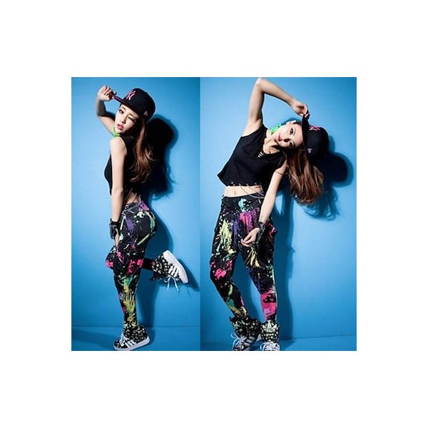 ダンス衣装 サルエルパンツ サラサラして動きやすい カラフル タイダイカーゴ カジュアル ダンスパンツ 運動パンツ|e-dance|02