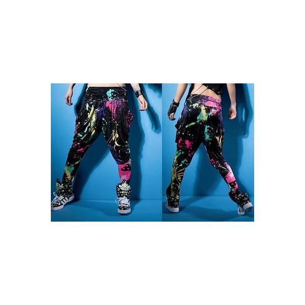 ダンス衣装 サルエルパンツ サラサラして動きやすい カラフル タイダイカーゴ カジュアル ダンスパンツ 運動パンツ|e-dance|04