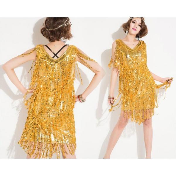 932f5d4b97a74 ダンス衣装 スパンコール ワンピース フリンジ ドレス スパンコール衣装 ...