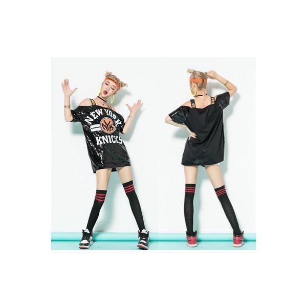 スパンコール ダンス衣装 tシャツ ロング丈 半袖 スパンコール衣装 ヒップホップ レディース ステージ イベント 発表会  演出服|e-dance|04