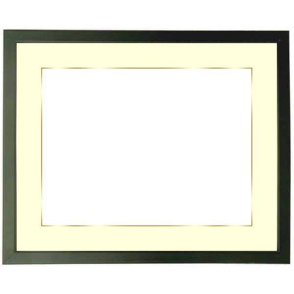 額縁 フレーム 写真用額縁 歩-7/黒 A2(594×420mm)専用 前面ガラス仕様 マット付き(金色細縁付き)