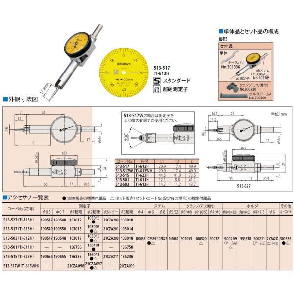 ミツトヨ ポケット形テストインジケータ 513-517 TI-613H