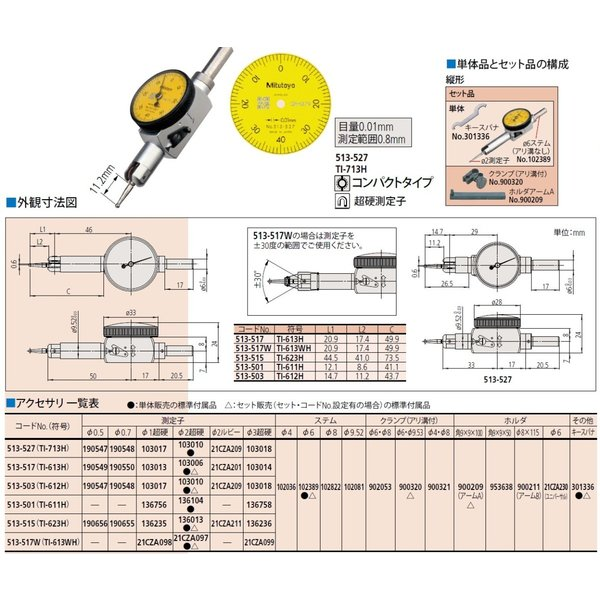 ミツトヨ ポケット形テストインジケータ 513-527 TI-713H