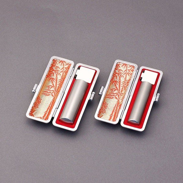 印鑑セット/実印・銀行印2本セット/本トカゲ付-L-シルバーチタン-16.5mm13.5mm/熟練職人の手彫り仕上げ