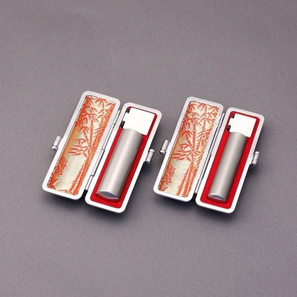 印鑑セット/実印・銀行印2本セット/エンボス付-LL-シルバーチタン-18mm15mm/上彫り職人の作成印影