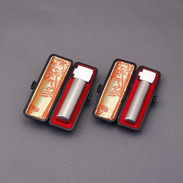 印鑑セット/実印・銀行印2本セット/本ワニ(横背)付-LL-シルバーチタン-18mm15mm/上彫り職人の作成印影