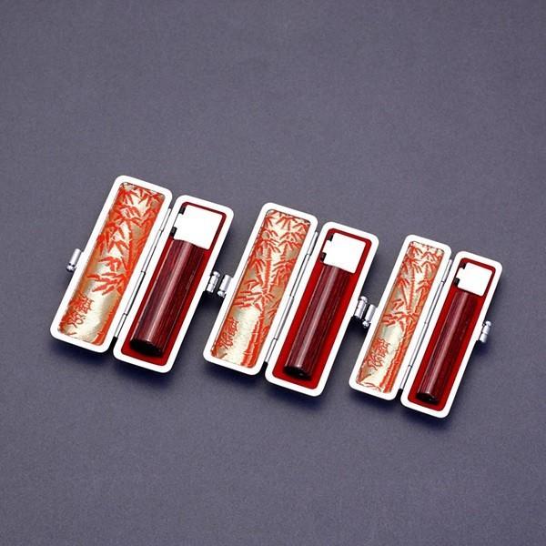 印鑑セット/実印・銀行印・認印3本セット/エンボス付-LL-アグニ-18-15-12mm/上彫り職人の完全手彫り