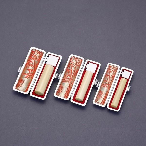 印鑑セット/実印・銀行印・認印3本セット/印伝付-S-薩摩本柘-15-12-10.5mm/上彫り職人の完全手彫り