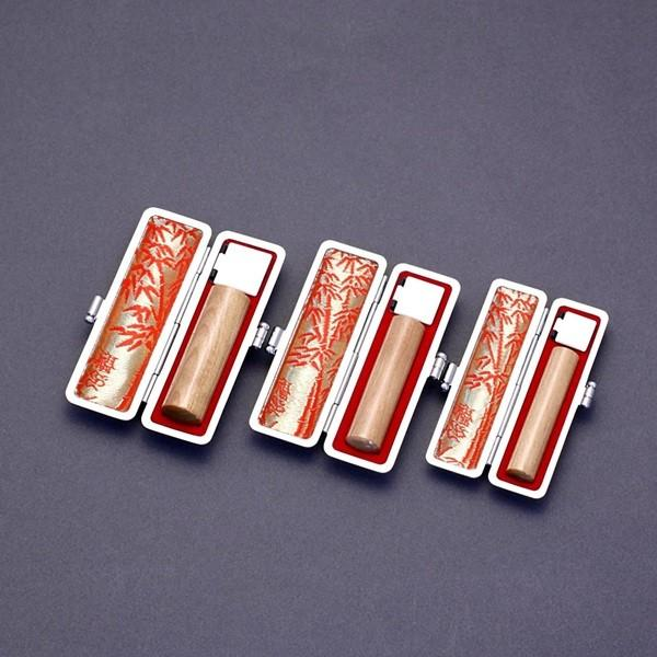印鑑セット/実印・銀行印・認印3本セット/印伝付-S-オノオレカンバ-15-12-10.5mm/上彫り職人の完全手彫り