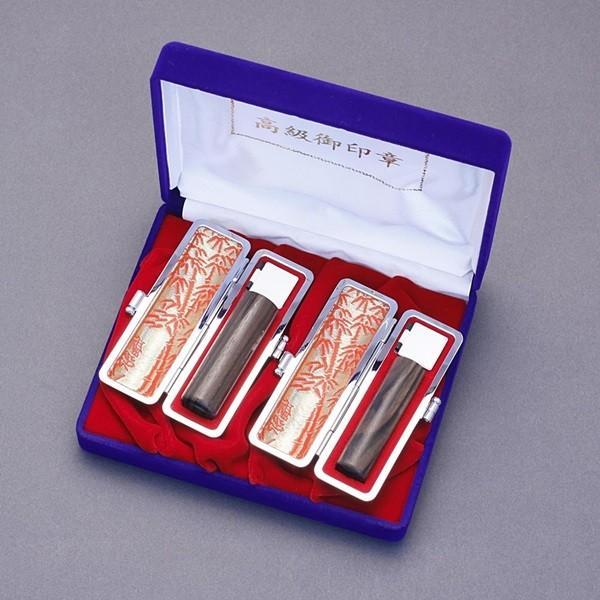印鑑セット/実印・銀行印2本セット/もみ皮+Sケース付-LL-黒檀-18mm15mm/熟練職人の手彫り仕上げ