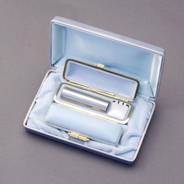 印鑑セット/実印・銀行印2本セット/ファンシー+Sケース付-LL-シルバーチタン-18mm15mm/熟練職人の手彫り仕上げ