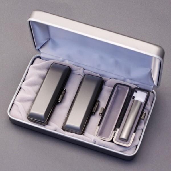 印鑑セット/実印・銀行印・認印3本セット/エレガント+Sケース付-SS-シルバーチタン-13.5-12-10.5mm/上彫り職人の作成印影