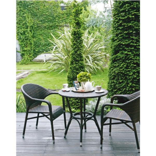 ガーデンテーブル 屋外用 ガーデンファニチャー ウィーヴィングシリーズ テーブル ブラウン おしゃれ|e-housemania|02