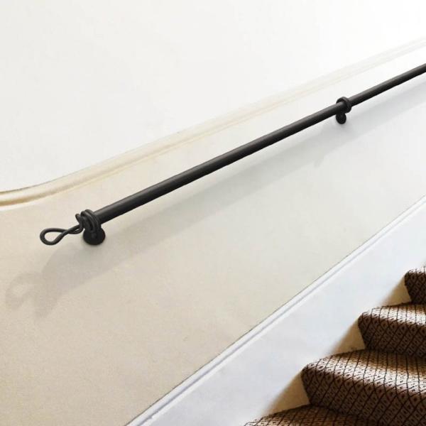 手すり 階段 室内壁付手摺 ツイスト 階段壁付手摺 2スパン ブラックマットアルミ おしゃれ|e-housemania|02