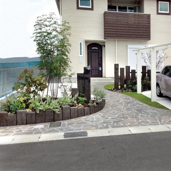 庭 花壇 仕切り 土留め ブロック 柱 コンクリート製 古枕木 日本 オンリースリーパー フィット中間用柱 1本体 ガーデニングdiy 屋外床 玄関 アプローチ|e-housemania|05