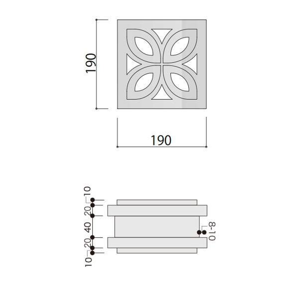 ブロック 塀 アプローチ エントランス せっき質無釉ブロック ポーラスブロック200 190Fタイプ 白土(配筋溝あり・4本角溝) 1個単位 屋外壁 diy|e-housemania|02