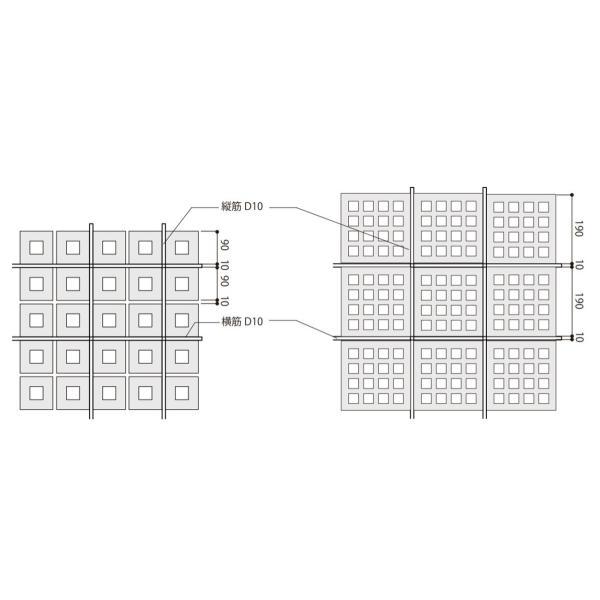ブロック 塀 アプローチ エントランス せっき質無釉ブロック ポーラスブロック200 190Fタイプ 白土(配筋溝あり・4本角溝) 1個単位 屋外壁 diy|e-housemania|04