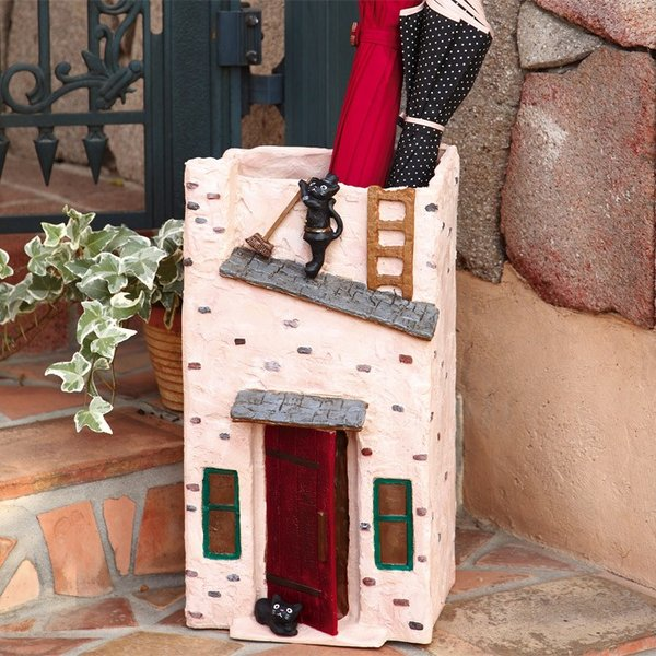 傘立て かさ立て 黒猫 ラカンパーニュ 煙突そうじ 受け皿付き  ガーデンニング雑貨|e-housemania|02