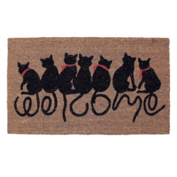 玄関マット 屋外用 コイヤーマット FBGY4050 ウエルカムキャット 猫  エントランスを素敵に演出|e-housemania