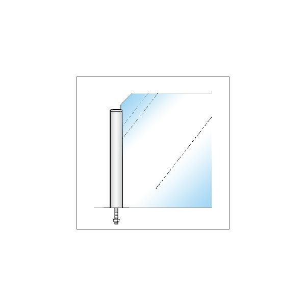 ガラススクリーンポール(ブースバー) Pタイプ 平二方 32mm x L300mm キリコミ平頭 ボルト固定 クローム